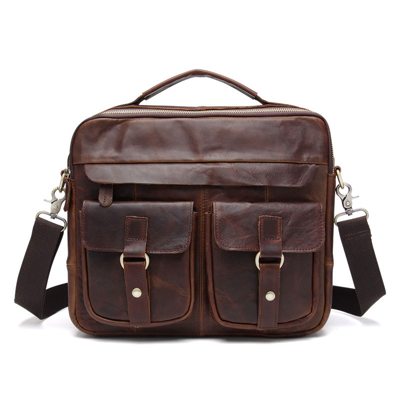 Genuine Leather Vintage Men Briefcases Handbags Crazy Horse Leather Shoulder Bag for Male Business Messenger Bag Man's Bags multi functional survival paracord bracelet black camping outdoor survival gear whistle lifesaving braided rope tactical wrist