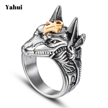 YaHui 2018 Egyptian Anubis Designer Finger Ring Punk Rock Finger Ring Stainless Steel Men's Rings Men's Cross Rings цена