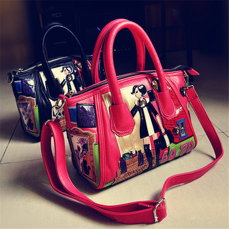 Ladies Handbag Shoulder Diagonal Package Hand Embroidery Flower Stitching Personality Smiley Bag