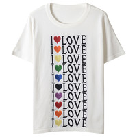 Women T shirt LOVE Letters Jacquard Knitted Heart Embroidery Tees Summer T Shirt Jumper Short Sleeve Pullovers Top Lolita
