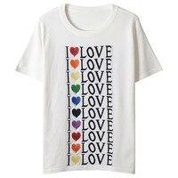 Women T shirt LOVE Letters Jacquard Knitted Heart Embroidery Tees Summer T shirt Runway Jumper Short Sleeve Pullovers Top Lolita
