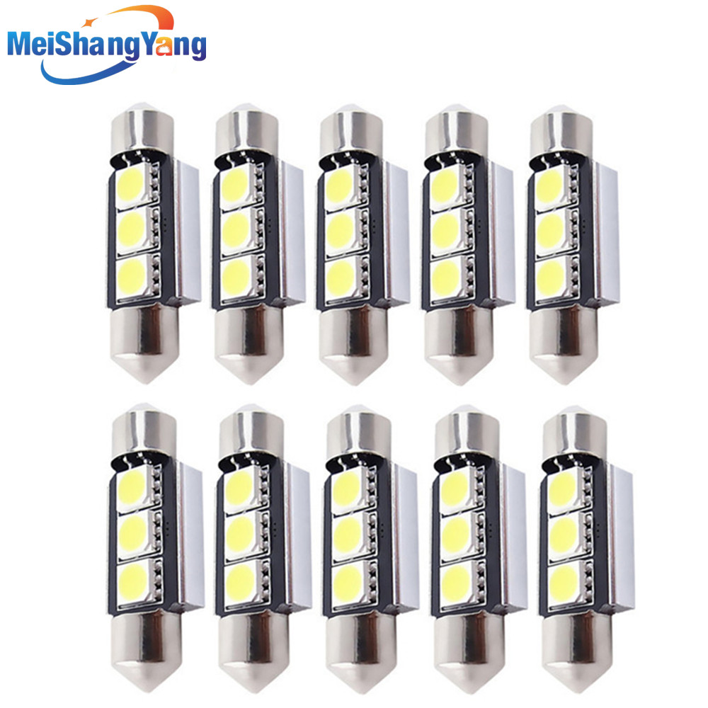 10pcs 36mm 39mm 3 SMD 5050 Pure White Dome Festoon CANBUS Error Free Car 3 LED Light Lamp Bulb V10 12V C5W Led