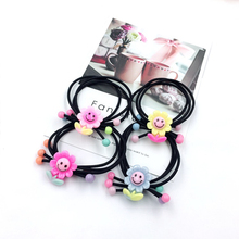 10PCS 2019 cute cartoon childrens hair accessories to the sun, flower head rope, new three-in-one leather, rope