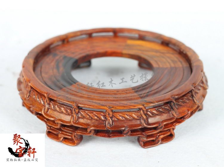 Stone carving rosewood mahogany wood carving handicraft circular base figure of Buddha are recommended vase furnishing articles in Coffee Tables from Furniture
