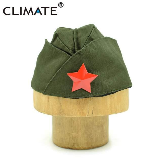 placeholder CLIMA Russo Exército Vermelho Soviético Estrela Vermelha  Guarnição Militar Caps Meninas Único Verde Do Exército Uniforme 664f4ce1249