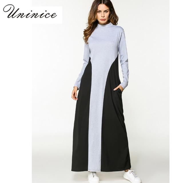 Moslemisches Abaya Maxi Kleid Baumwolle Langarm Robe Free Style ...