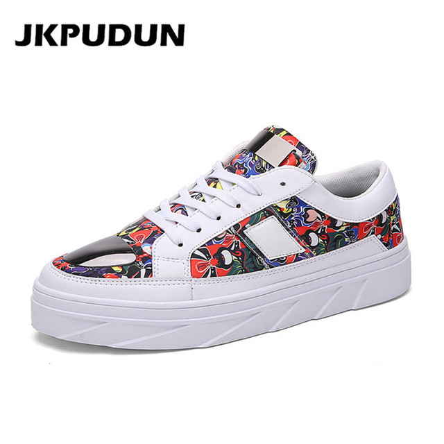 3b425b694f JKPUDUN Mens Hip Hop Shoes Casual Luxury Brand Italian Fashion Designer  Platform Shoes Men Leather Driving