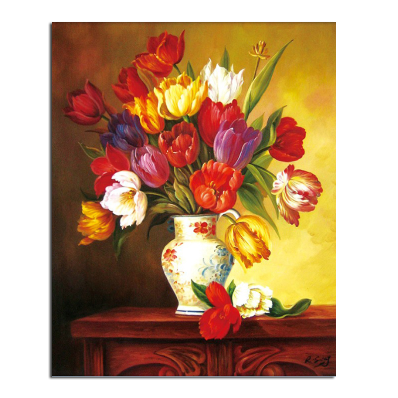 vase Tulip 40x50 Cash Pattern Diamond Embroidery DIY Needlework Diamond Painting Cross Stitch Full Drill Rhinestones Painting