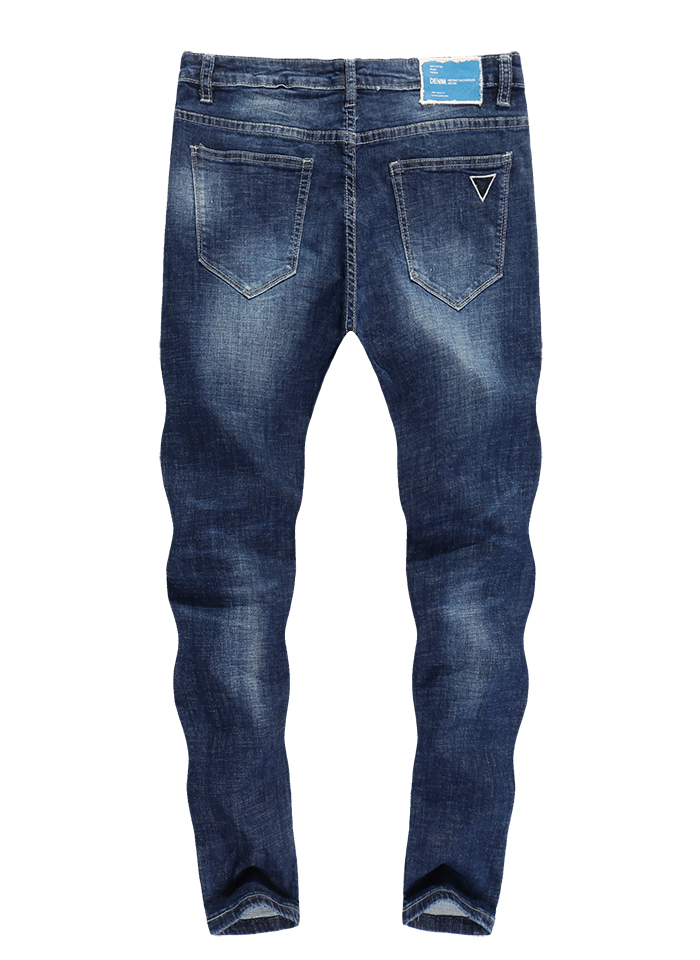 KSTUN Stretch Jeans Men Skinny Ripped Cropped Pants Slim Dark Blue Distressed Frayed Streetwear Patched Hip Hop Jeans for Man 13