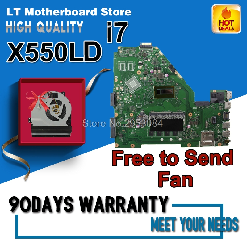 все цены на For Asus motherboard A550L A550LA R510L R510LA X550L X550LA motherboard X550LD REV2.0 Mainboard With i7-4500U 4G HD 4400 Tested онлайн