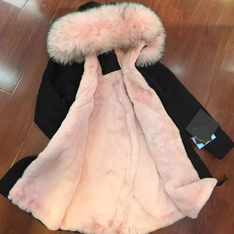 Black womens winter jackets with big Pink raccoon fur hooded Pink faux fur coats Long