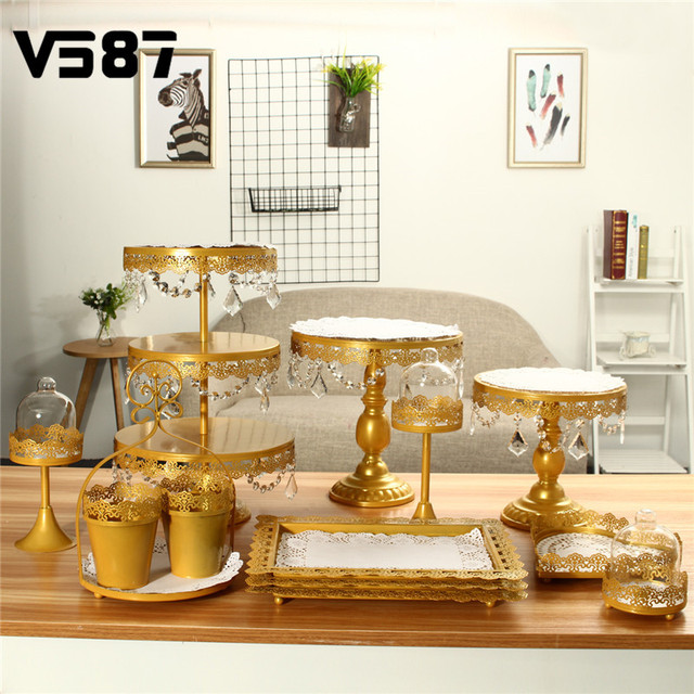 Gold/White 10Pcs/Set Crystal Metal Cake Stand Holder Display Cupcake Serving Stand Rack Birthday Party Wedding Decorations