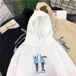 Hoodies Women Winter Thicken  Ulzzang Kawaii Long Sleeve Womens Pullover Cartoon Printed Hooded Students Ladies Sweatshirts 6