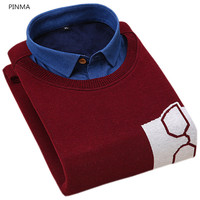 New Autumn High Quality Velvet Mens Pullover Patchwork Sweaters Thicken Slim Casual Men Printed Warm Men