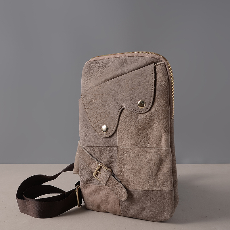 Baoersen Fashion Mens Messenger Bags Cross Body Shoulder Chest Bags Packs Genuine Leather Black bag Man Casual Style Bag