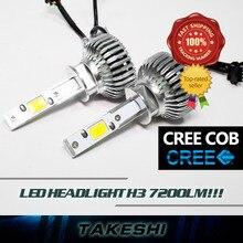 Free shipping Pair high power H3 48W/Set 7200LM/Set COB 6000K White Auto Car Led COB Lamp Fog Headlight Plug&Play W/ Fans