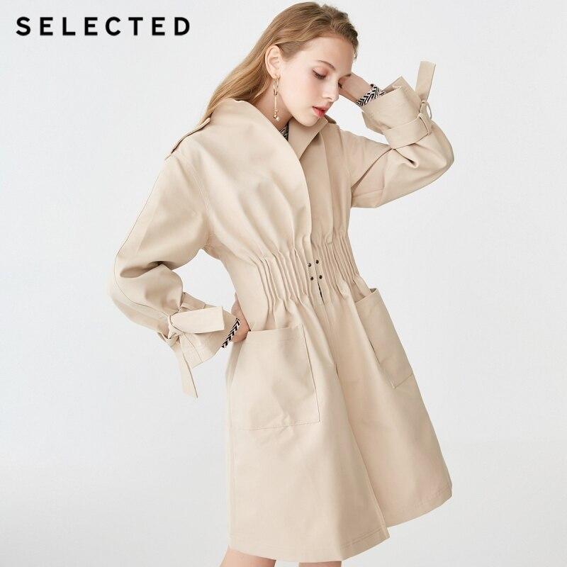 SELECTED Women s Spring Stand up Collar Big Pocket Medium Length Wind Coat S 419121506