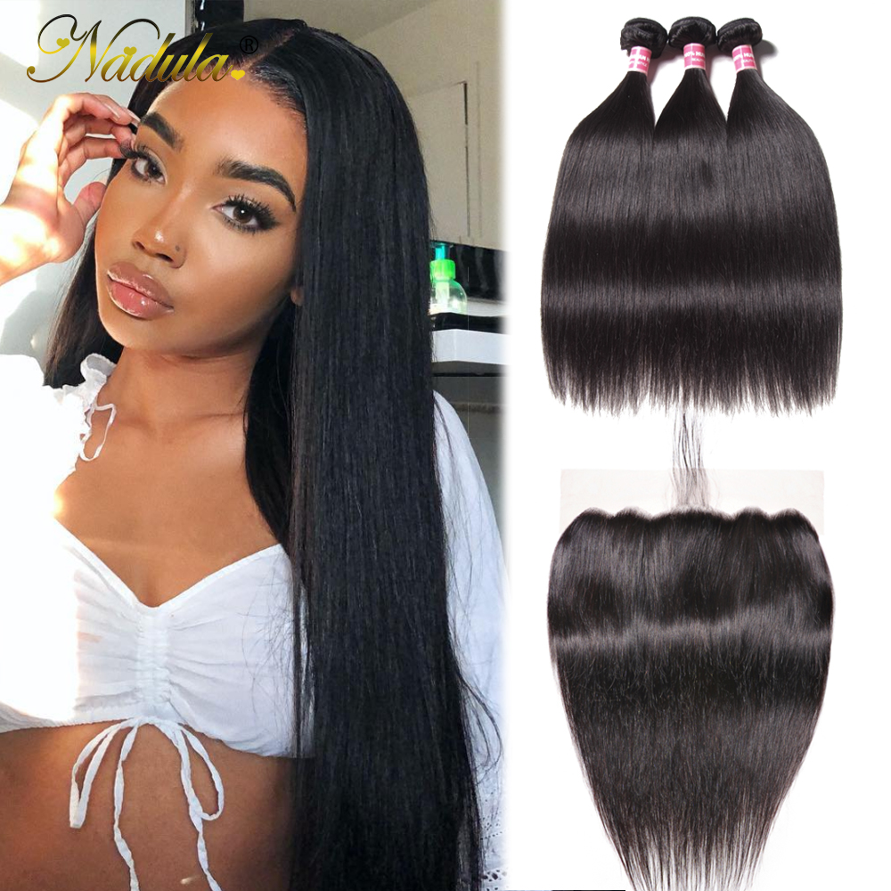 Nadula Hair 13x6 Lace Frontal Closure with Bundles Straight Hair Bundles With Frontal   Hair Bundles with Frontal 1