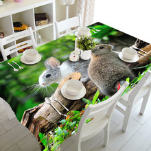 3D Tablecloth Cute Rabbit Pattern Thick Dustproof Polyester Rectangular Wedding Hotel Banquet Table Cloth Home Textiles(China)