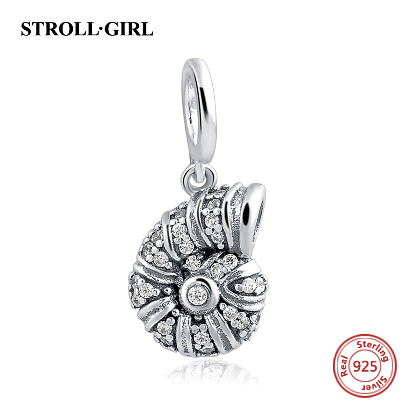 charms silver 925 Cute little snail animal beads Fit