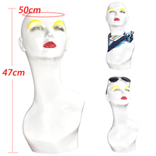 PVC Women Mannequin Head Wig Stand Hat Holder Necklace Jewelry Display Mold Rack