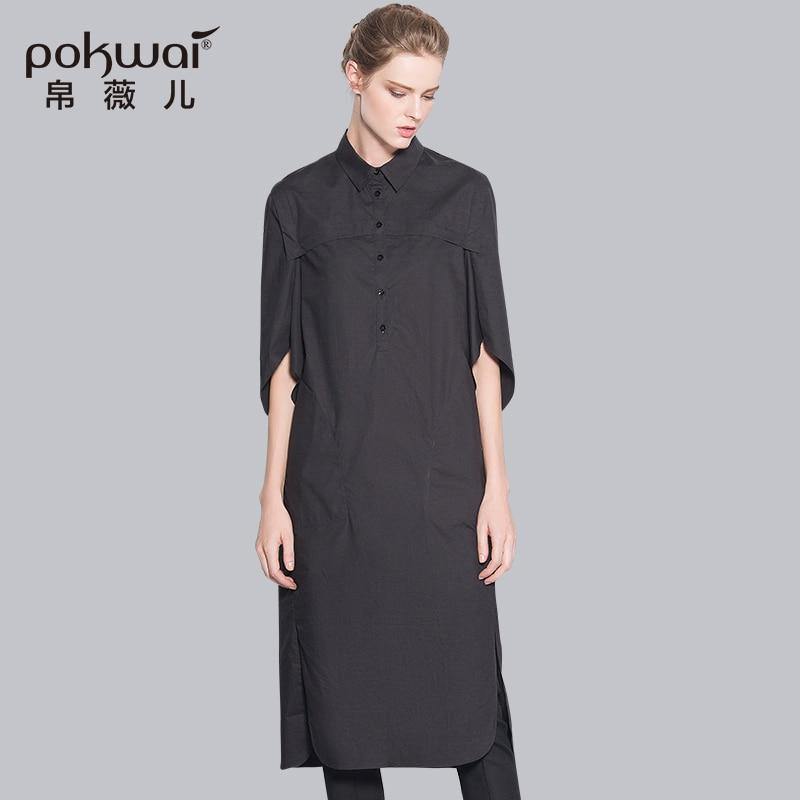 POKWAI módní polokošile bavlněné košile dámské topy 2017 luxusní značka kvalitní oblečení dlouhý knoflík halenka zapínací límec top