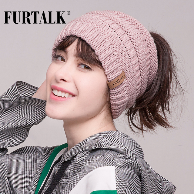 FURTALK 2018 Women Ponytail Hat Beanie Messy Bun Knit Beanie Hat for Girls  Skullies Beanies Caps Female Knit Warm Stylish Hat e3e44f63ce5