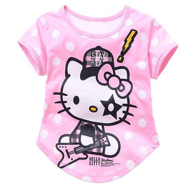 Free shipping 6 pcs/lot cartoon girls t shirt hello kitty clothes for children cute cotton short sleeve t-shirt fo kids pink/red