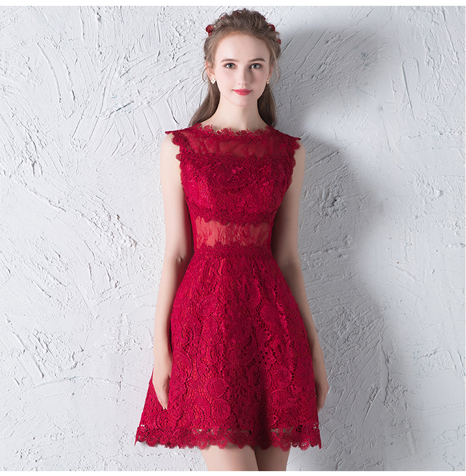 Red Cut Out Lace A Line Prom Evening Dress