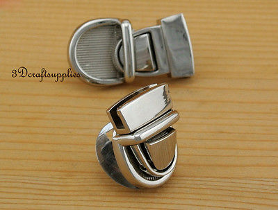 purse lock wallet Thumb latch tongue clasp silver 3/4 inch x 1 inch N23