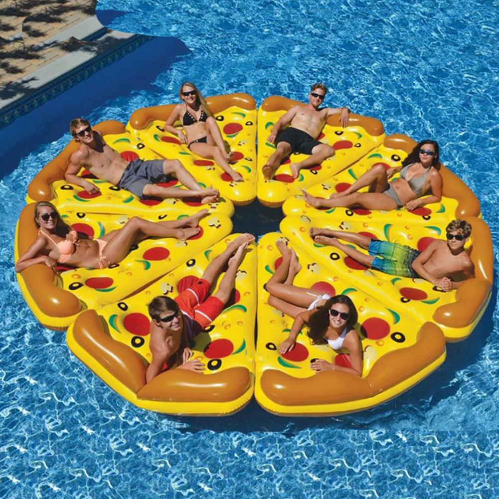 180*150cm Inflatable Pizza Shaped Swimming Pool Float Colorful Floating Bed Swimming Ring PVC Water Toy Seat