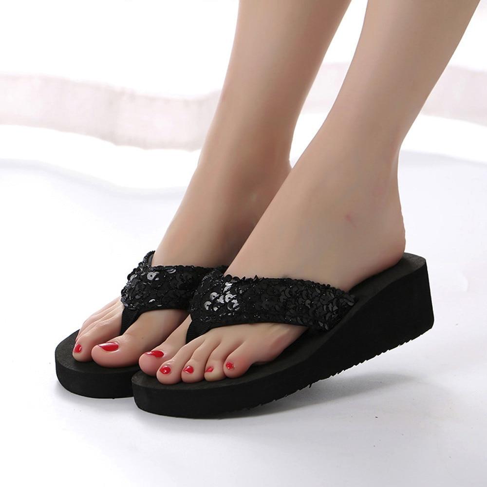 HTB1.u13cMKG3KVjSZFLq6yMvXXae Summer Women Flip Flops Casual Sequins Anti-Slip slippers Beach Flip Flat Sandals Beach Open Toe Shoes For Ladies Shoes #L5