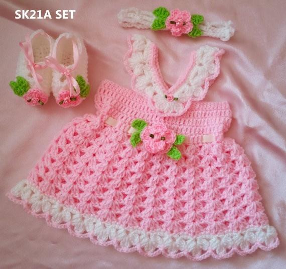 Capullos de rosa bebé hilo de ganchillo en Primeros Caminante de ...