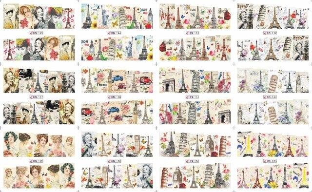 En venta!! 1 Lote = 50 hojas 12 en una hoja Nueva Style Nail Art Sticker Agua El Renacimiento en 2016 para BN145-156