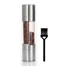 페퍼 그라인더 2 in 1 브러쉬, 스테인레스 스틸 수동 소금 후추 분쇄기, 조미료 연삭 요리 레스토랑