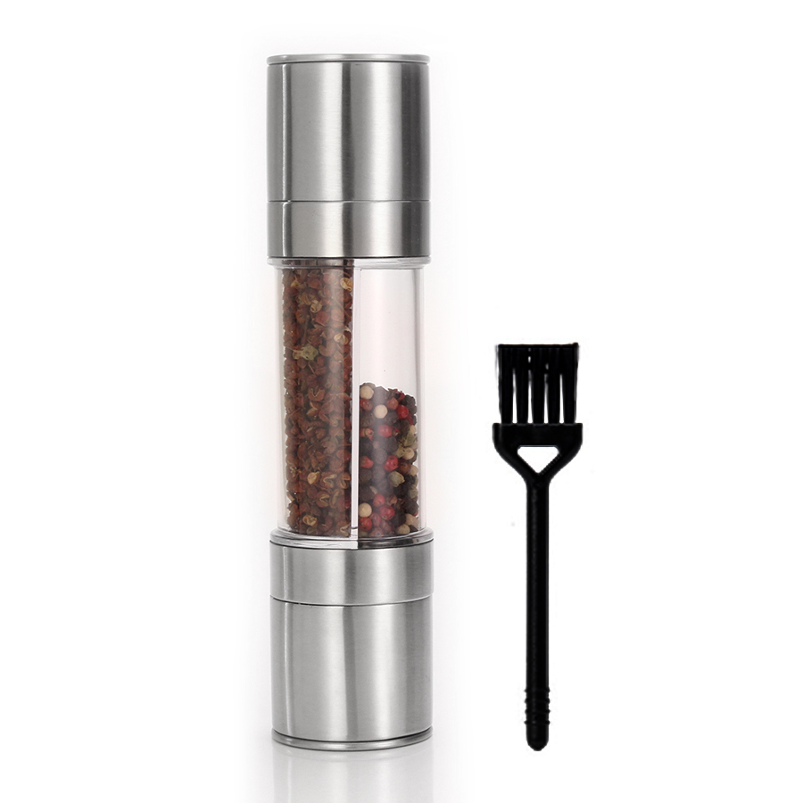 Pepper Grinder 2 in 1 with a brush,  Stainless Steel Manual Salt Pepper Mill Grinder, Seasoning Grinding for Cooking Restaurants
