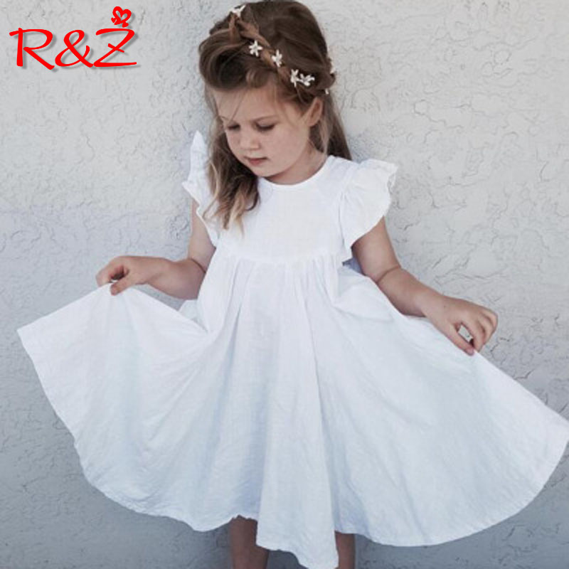 R&Z children's dress 2019 ins summer new European and American girls cotton cotton sleeve dress lace princess lace dress(China)