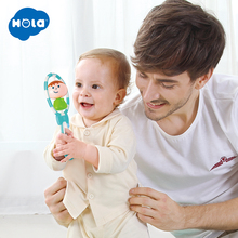 лучшая цена HOLA 1108 Baby Rattles toy Intelligence Grasping Gums Plastic Hand Bell Rattle Funny Educational Mobiles Toys Birthday Gifts