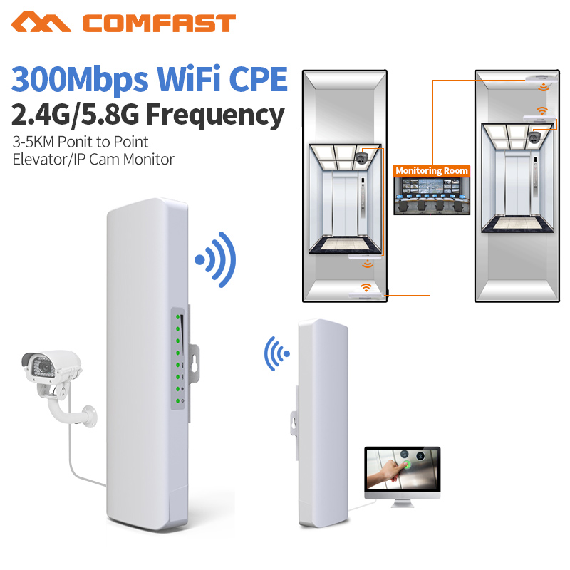 2pc Long WIFI Range 5.8G/2.4ghz 300Mbps Outdoor CPE WiFi Bridge Router Wireless Wifi Repeater 2*14dBi Antenna POE Wireless CPE wireless wifi