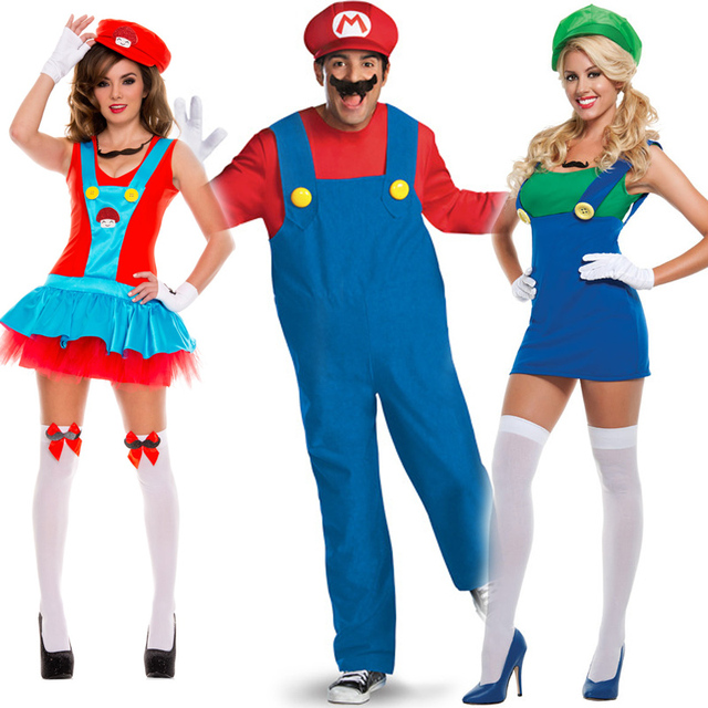 men women funy cosplay costume super mario luigi brothers plumber fancy - Girl Mario And Luigi Halloween Costumes