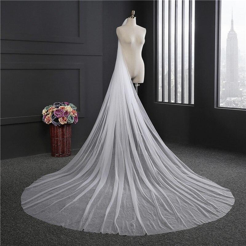 2018 Elegant Long Wedding Veil With Comb One Layer Tulle Cut Edge Bridal Veils 200CM 300CM Wedding Accessories