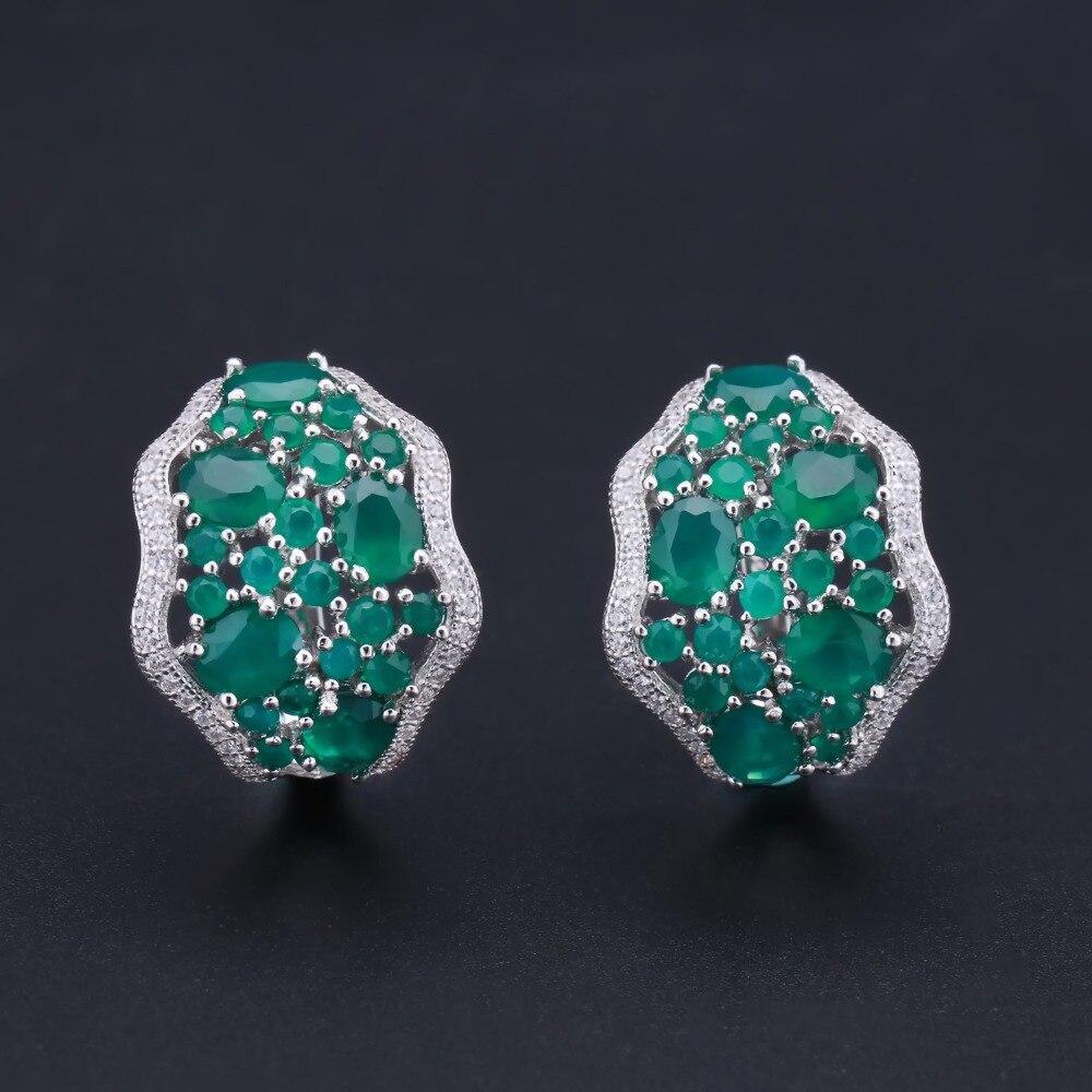 Takı ve Aksesuarları'ten Takı Setleri'de GEM'S BALE 14.31Ct Doğal Yeşil Akik takı seti 925 Ayar Gümüş Taş Küpe Yüzük Kadınlar Için Set düğün takısı'da  Grup 2
