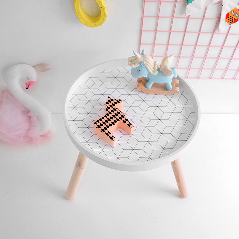 Nordic Style Kids Room Play Desk Modern Round Wooden Storage Side Table Nursery Home Kids Furniture Accessories 40x35cm