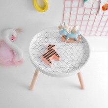 Stile nordico Camera Dei Bambini Giocare Moderna Scrivania di Legno Rotondo di Immagazzinaggio Tavolino Nursery Home Mobili Per Bambini Accessori 40x35cm
