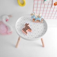 Styl skandynawski pokój dziecięcy biurko do zabawy nowoczesny okrągły drewniany stolik do przechowywania przedszkole Home akcesoria meblowe dla dzieci 40x35cm