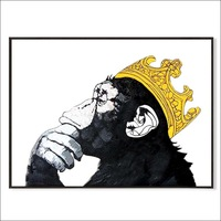 100% Hand Painted oil painting on canvas abstract Gorilla Monkey King with Crown artwork modern room wall decor artwork unframed