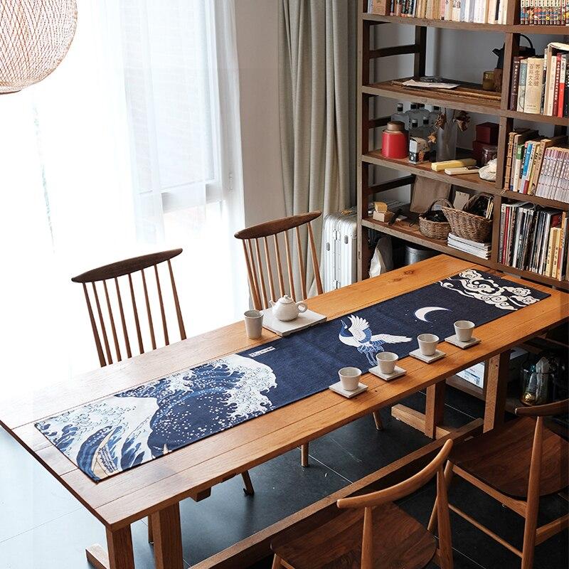 Style chinois coton tissu Teaware tapis peint à la main vue sur la mer motif chemin de Table TV couverture coussin maison dîner bureau décorations