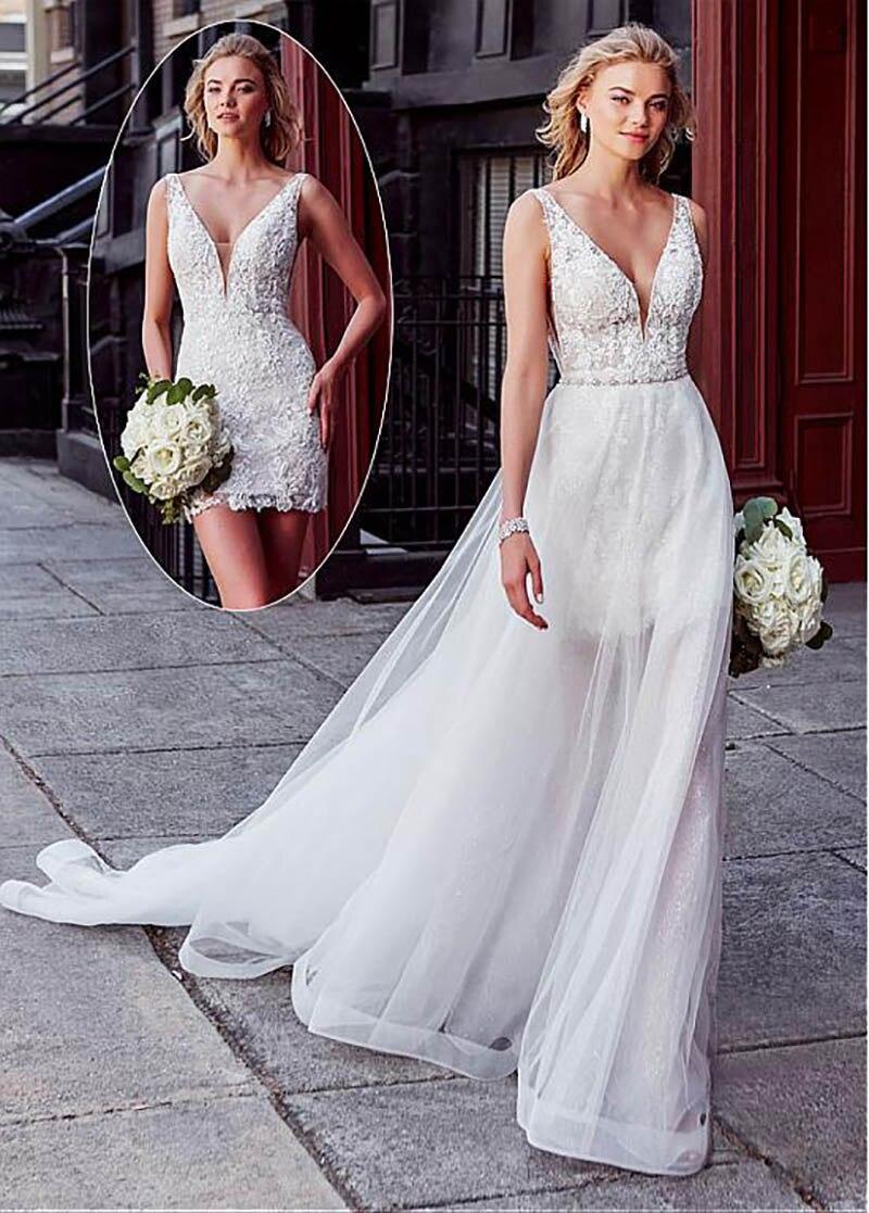 Smileven Wedding Dress 2 Pieces Detachable Train  Boho Bride Dresses Sexy Short Shirt Wedding Bridal Gowns 2019 Turkey Style