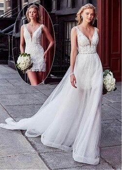 Smileven Wedding Dress 2 Pieces Detachable Train  Boho Bride Dresses Sexy Short Shirt Bridal Gowns 2019 Turkey Style