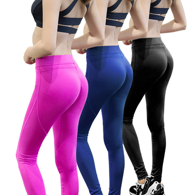 YEL Hot  Sexy Fitness Peach Leggings Women Silicon Skid Yoga Pant High Elastic Quick Dry Tight Sport Running Pant Push Up Hip